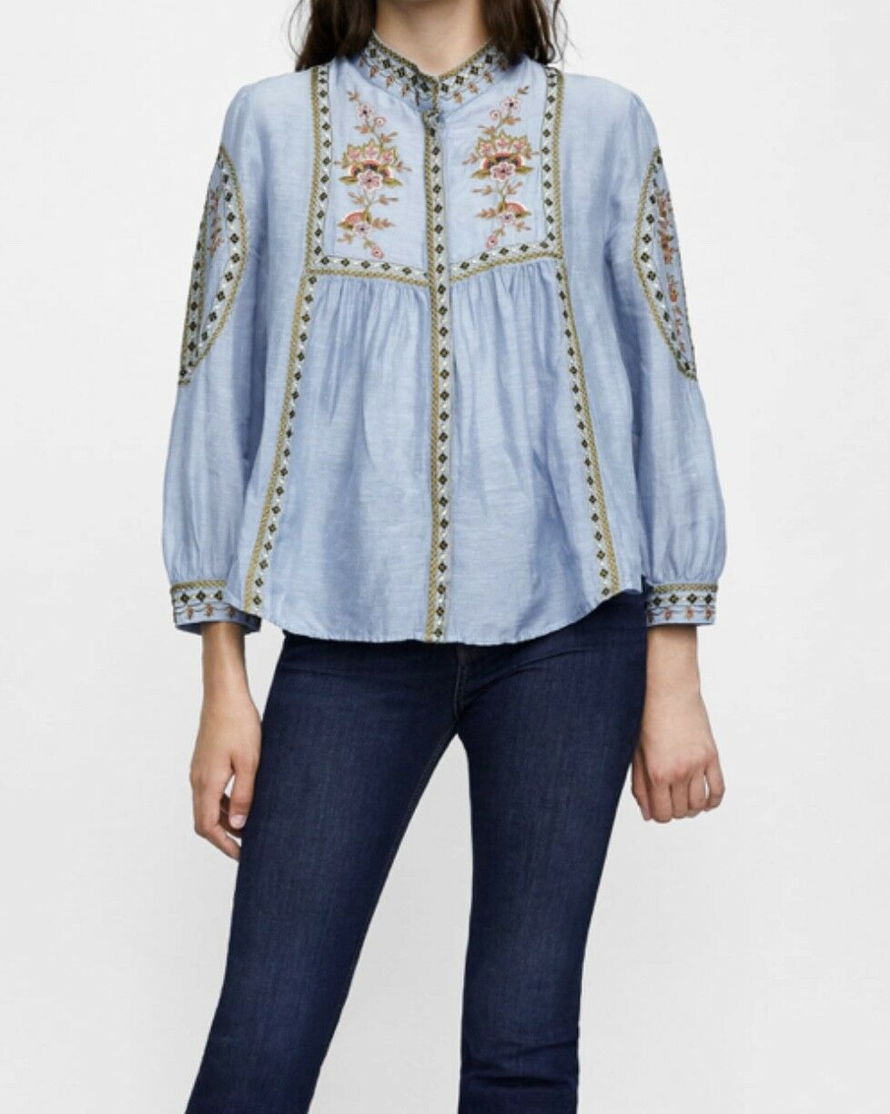 ZARA  EMBROIDErot SHIRT Größe XL  NWT SOLD OUT