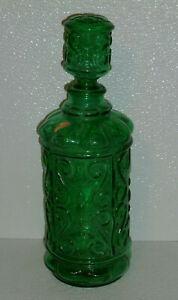 Norleans-Green-Glass-Stoppered-Bottle-Decanter-Jug-Vtg-Italy-9-5-034