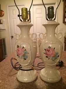 Pair Of White Porcelian Vintage Lamps
