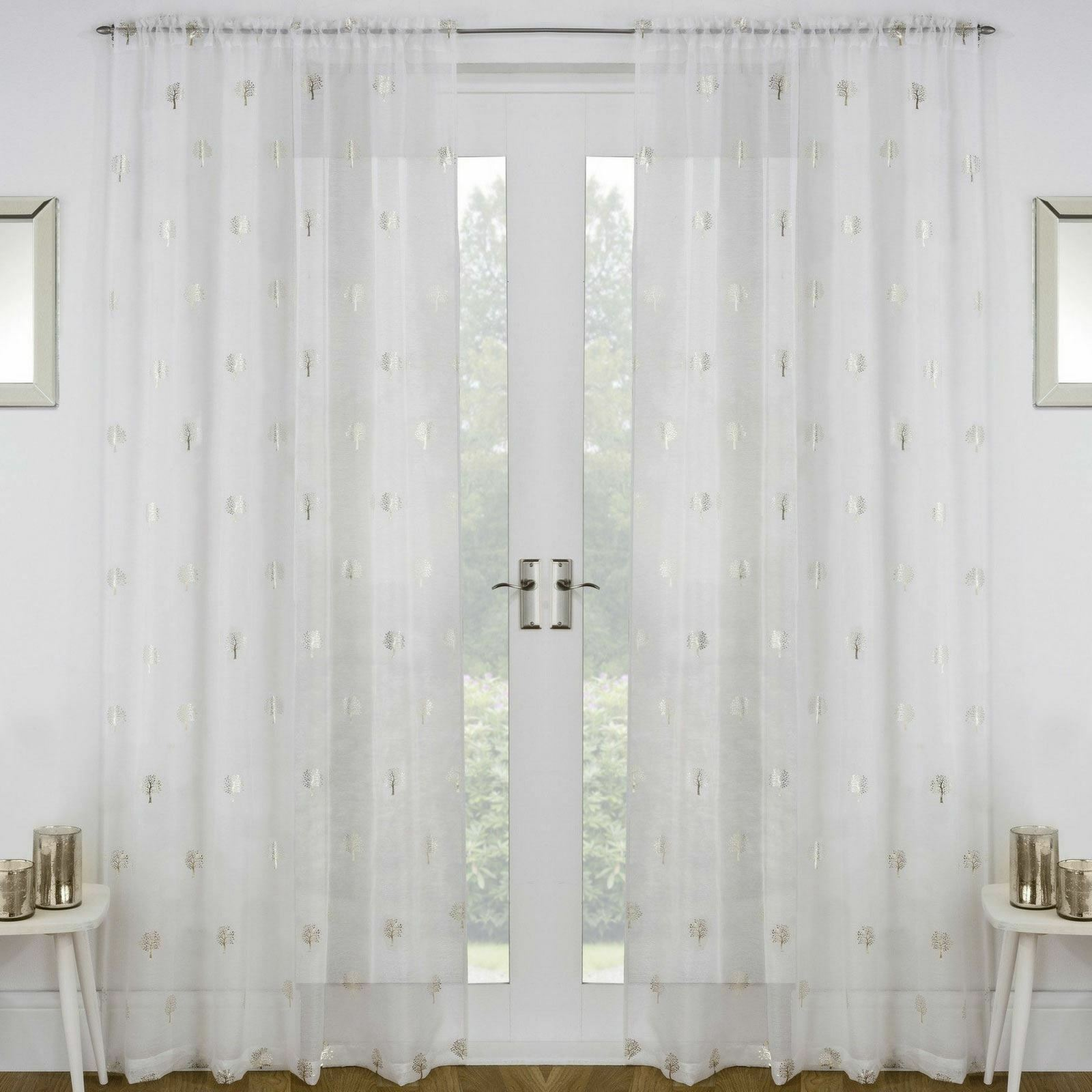 One Single HOXTON Plain Geometric Design Slot Top Header Curtain Voile Panels