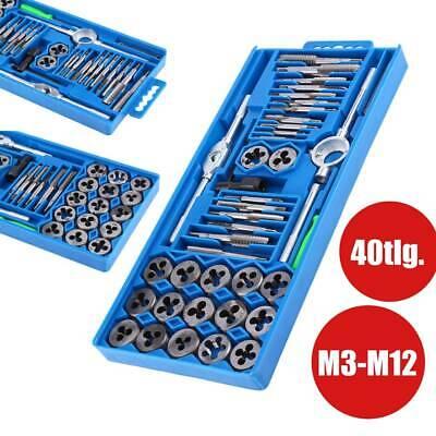 40tlg Gewindeschneider Satz M3-M12 Fein Gewinde Schneider Bohrer Werkzeug Stahl