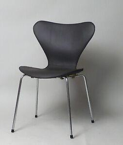 Details zu Arne Jacobsen Stuhl No. 3107 Fritz Hansen Leder dunkelbraun  abnehmbar