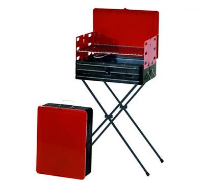 Luminosa Barbecue A Carbonella Carbone Rettangolare 40x30x72h Cm Richiudibile A Valigia Una Custodia Di Plastica è Compartimentata Per Lo Stoccaggio Sicuro