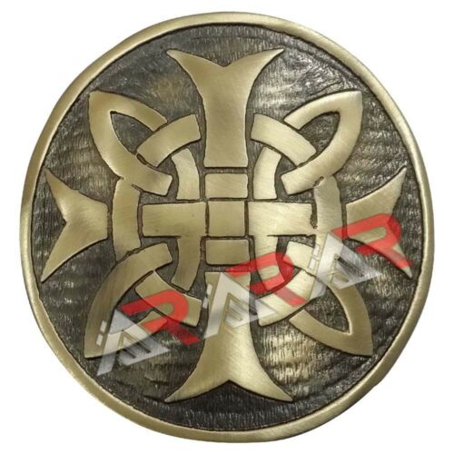 "Mens Cross Round Kilt Belt Buckle Chrome Antique Finish 3/""//Celtic Belt Buckles"