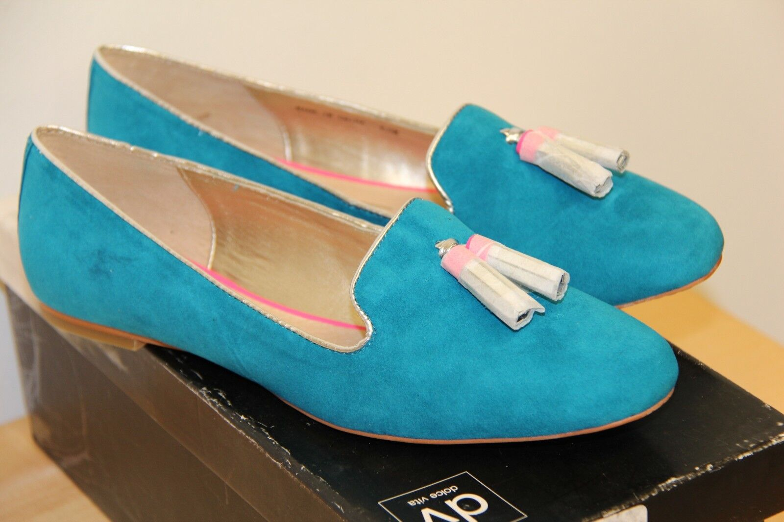 NIB Dolce Vita NALLA  Suede Oxfords Loafers Flat Schuhes Sz 8.5 Teal
