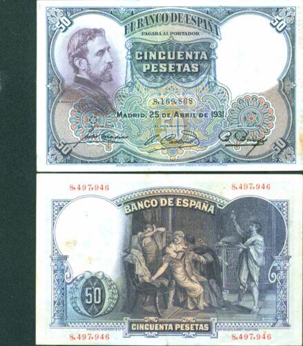 SPAIN 50 PTAS 1931 VF CONDITION VERY SCARCE