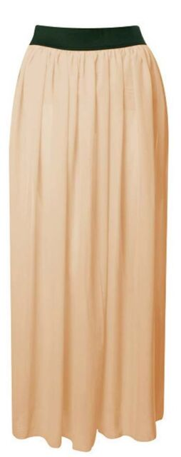 Womens Maxi Skirt Ladies Sheer Chiffon Gypsy Plain Long Maxi Dress Skirt 8 To14