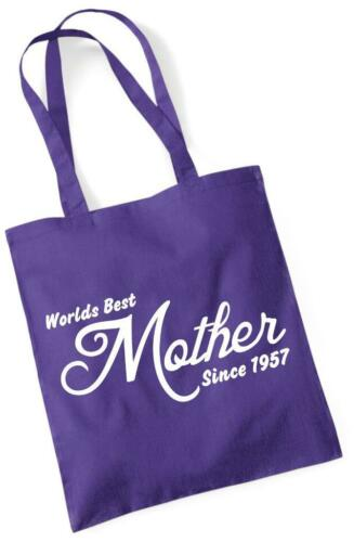 62nd regalo di compleanno Tote Shopping prezzi Borsa IN COTONE mondi migliori madre dal 1957