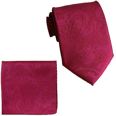 "New Men/'s 2.5/"" skinny polyester Woven necktie /& hankie set paisley pink wedding"