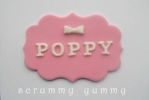 Plaque bow cake topper sugar decoration edible letter any ...