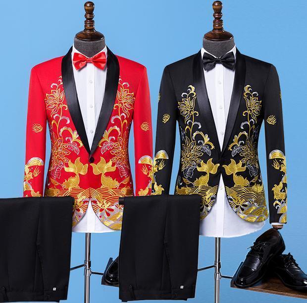 2PCS Mens Floral Printed Blazer Suits Wedding New Bridegroom Party Coat Pants