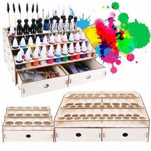 15-80-agujero-Pigmento-Tinta-Botellas-De-Rack-De-Pintura-De-Madera-Soporte-de-almacenamiento-modular