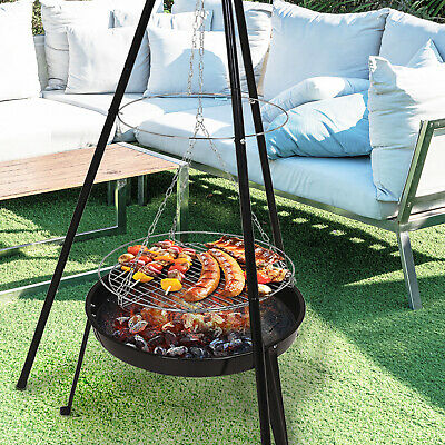 Hanging Bbq Grill Firepit Campfire Outdoor Fire Cooking Patio Garden Pit Camping Ebay