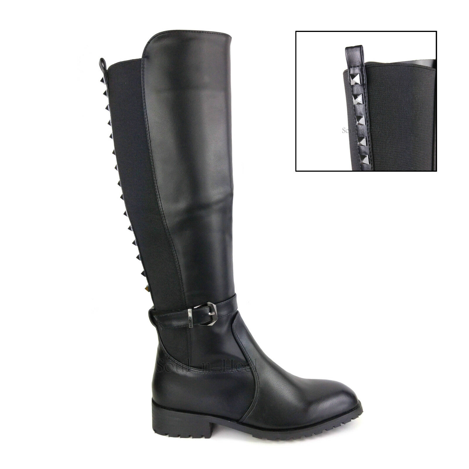 LADIES Damenschuhe KNEE HIGH STUDDED LEATHER FLAT LOW HEEL STRETCH RIDING Stiefel SIZE
