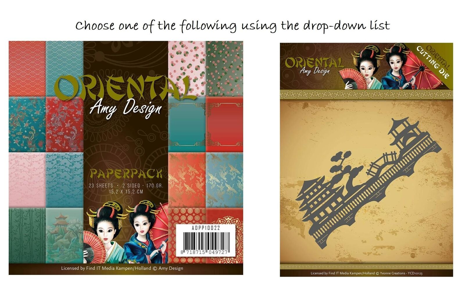 Amy Design Oriental Chinese Landscape Lanterns Koi Cutting Die or 6x6 Paper Pack 2