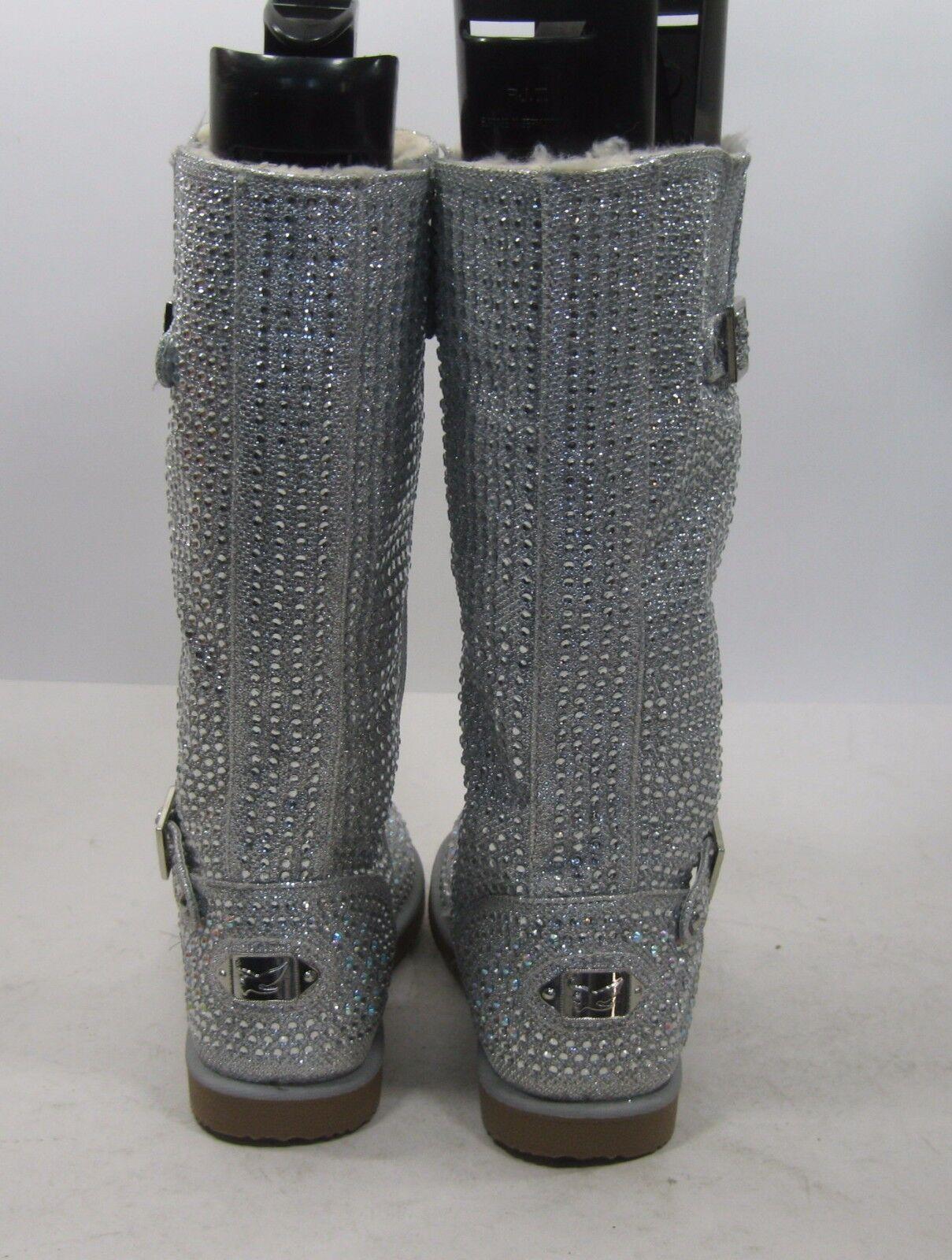 Neu Damen Silber Strass Winter Winter Winter Sexy Wadenhoch Stiefel Fellfutter Größe 7.5 60c657