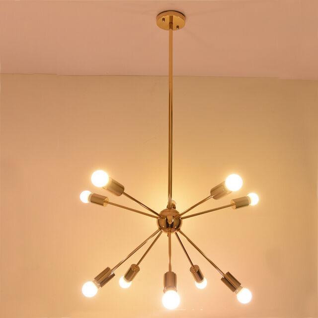 Mid Century Modern Brass Sputnik Atomic Chandelier Starburst Light Fixture Gold