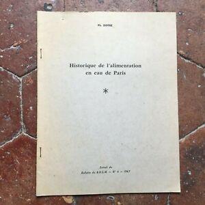 Diffre Storia Di Alimentazione IN Acqua Di Parigi Notiziario Del Brgm N°4 1967