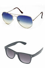 Combo of Blue Aviator Sunglasses & Black Wayfarer (Pack of 2) Free Shipping