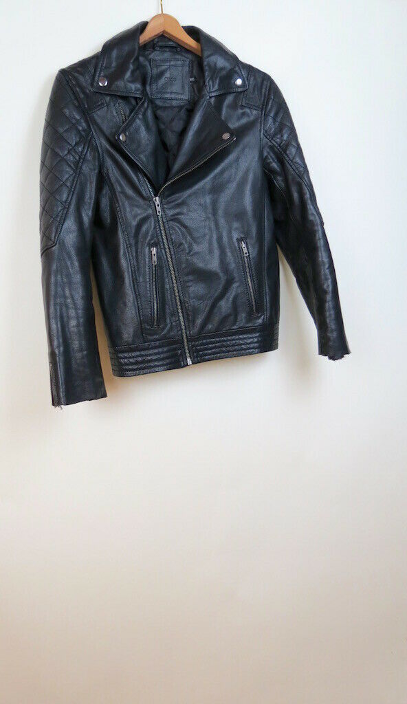 ASOS moto leather black jacket XXXS