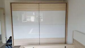 Details zu Nolte Schlafzimmer Schlafzimmer Set Schrank Schwebetürenschrank  2 Front Weißglas
