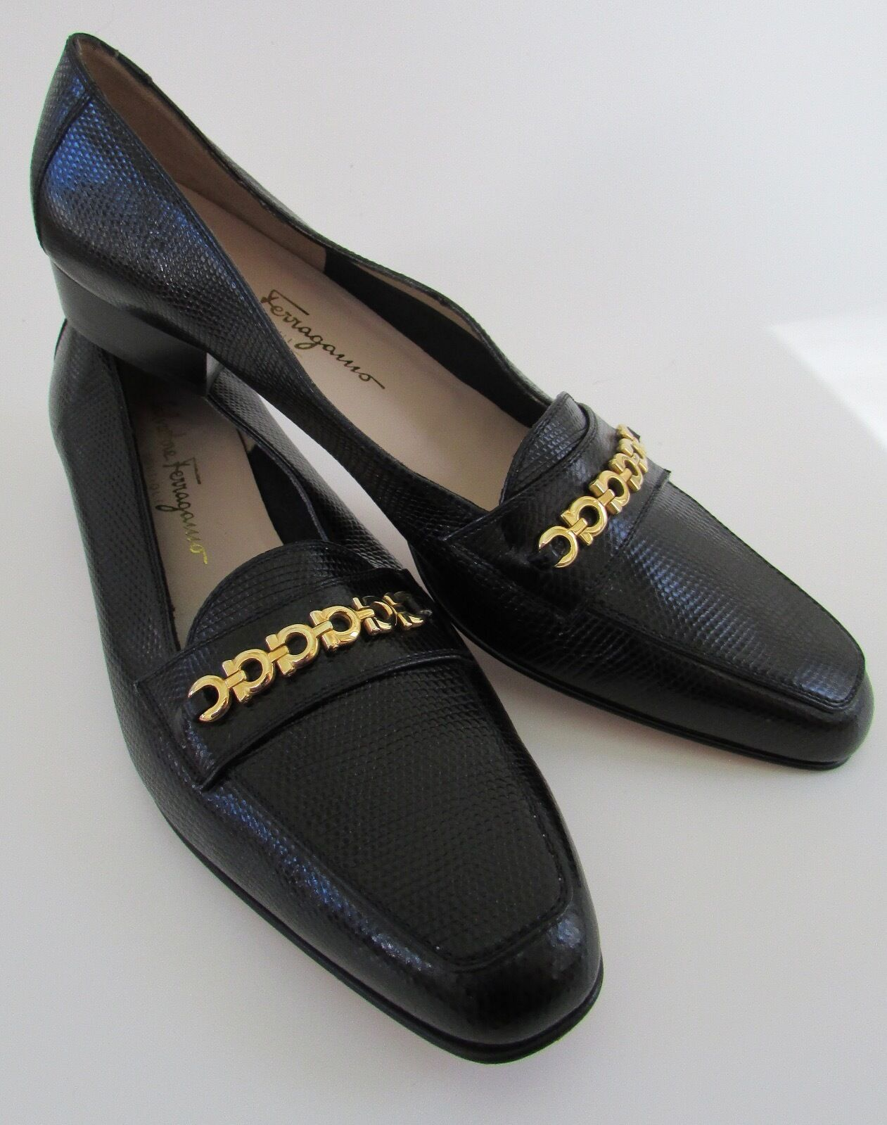 Salvatore Farragamo Italy Women's Black Snakeskin/Horsebit Leather Loafers 9.5N