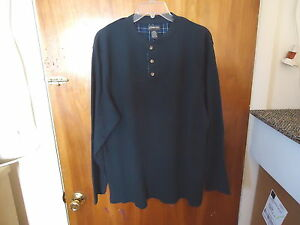Mens-St-Johns-Bay-Size-L-Dark-Blue-Long-Sleeve-Thermal-Type-Of-Shirt-034-BEAUTIFUL
