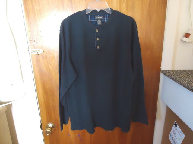 Mens St.Johns Bay Size L Dark Blue Long Sleeve Thermal Type Of Shirt