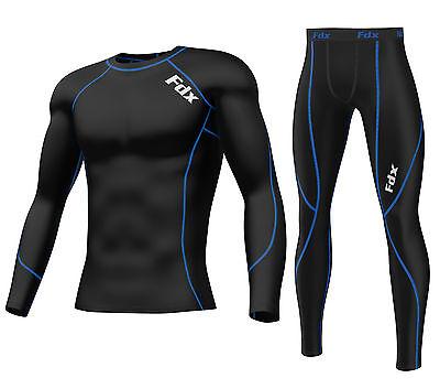 FDX Mens Compression Armour Base layer Top Skin Fit Shirt + Leggings set