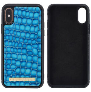 Suncase-Luxury-Backcover-Real-Leather-Phone-Cover-Croco-Turquoise-For-XS-Max
