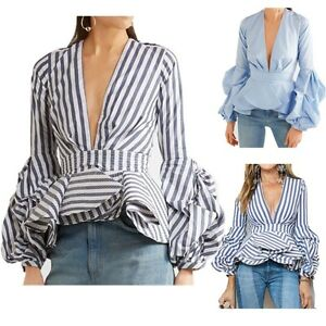 2a17f658 Women's Puff Sleeve short Lotus Shirt Blouse deep V Neck Stripe Tops ...