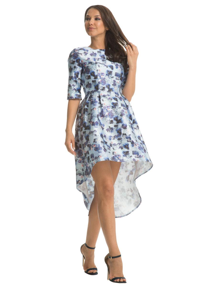 Chi Chi London Floral High Neck Dip Hem Midi Sleeve  Dress  20  Blau Multi