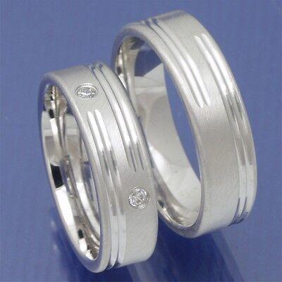 1 Paar Rhodinierte 925 Silber Verlobungsringe Freundschaftsringe Trauringe L404