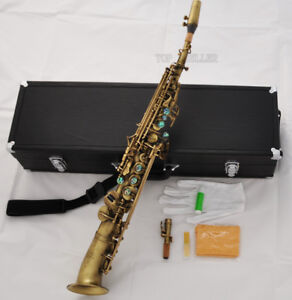 professional antique soprano saxophone high f g abalone curved bell saxello sax ebay. Black Bedroom Furniture Sets. Home Design Ideas