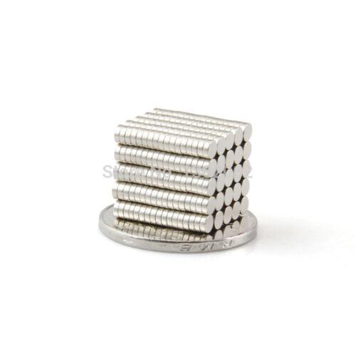 Neodym Magnete 2 x 1 mm Supermagnete hohe Haftkraft Scheibenmagnet N35 BULK pack