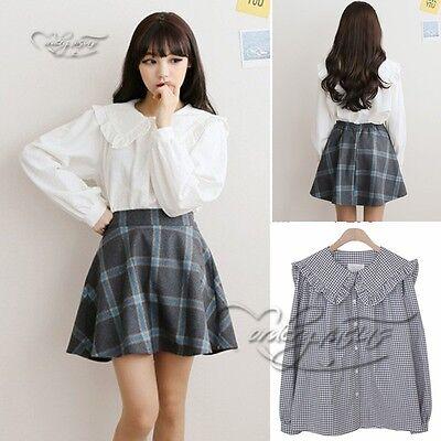 Womens Lolita Falbala Collar Blouse French Toast Plaid Checks White Shirt Cute