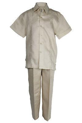 Sezione Speciale Bambini Khaki 100% Lino Set Floreale Ricamato Camicia & Pantaloni Taglie 12m To Caldo E Antivento