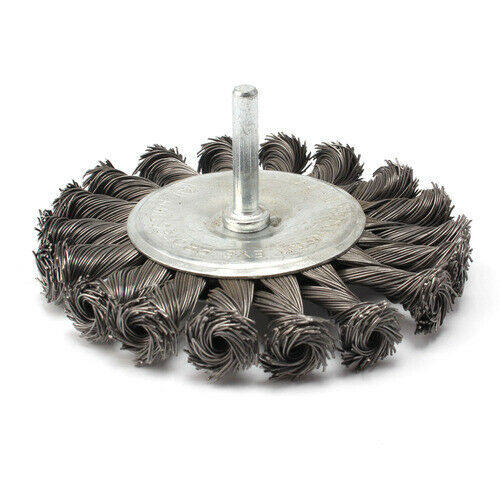"""4/"""" 100mm Knot Wire Flat Shaped Wheel Brush With 1//4/""""Shank Rust Removal Tools"""
