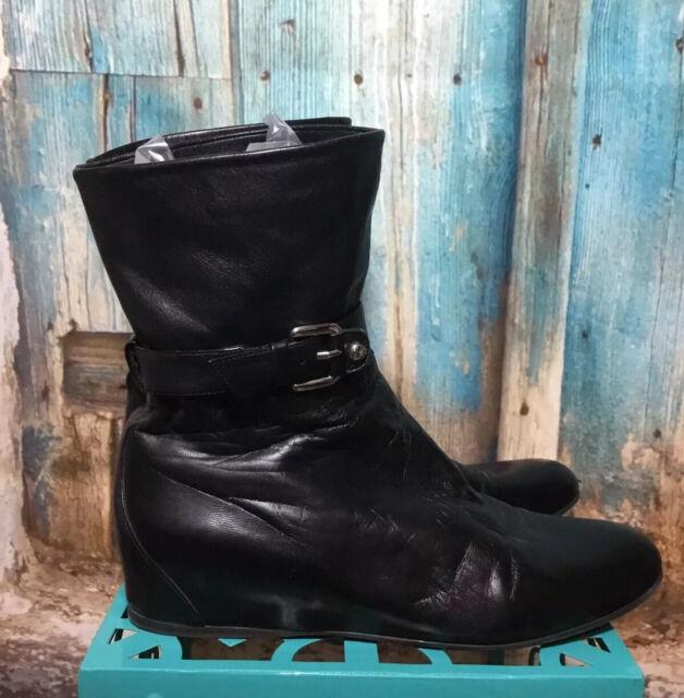 Stuart Weitzman Strap Buckle Strap Leather Black Ankle Boots Sz 8.5