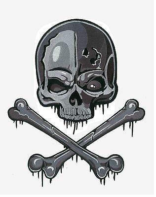GIANT Classic Skull & Crossbones Iron-On Back Patch Punk Rock Biker Gang Jacket