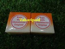 2 BAR SOAP KOJIC ACID PAPAYA w/GLUTATHIONE SKIN WHITENING LIGHTENING 75G+TRACK