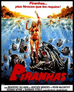 Details about Men's Ladies T SHIRT retro 70s horror film movie PIRANHA  killer fish french ver