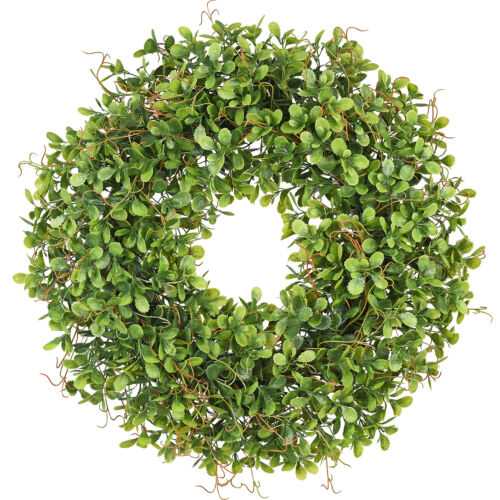 """Artificial Green Leaves Wreath 17/"""" Boxwood For Front Door Wall Window Party"""