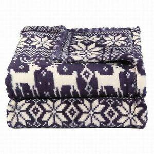 Soft-amp-Lofty-Blue-Snowflake-Reindeer-Oversized-Microplush-So-Soft-Throw-Blanket