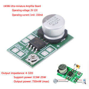 DC 5V~12V 6V 9V LM386 Mini Micro Audio Power Amplifier Board Amp Module HIFI