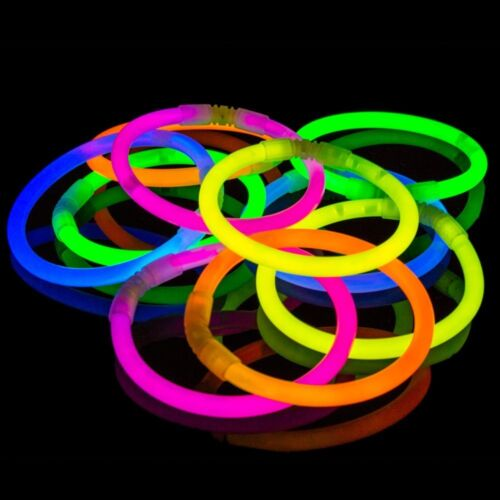 Pack of 100 Extreme Bright Non-Toxic Glowing 100 Colourful Sticks Neon Colours