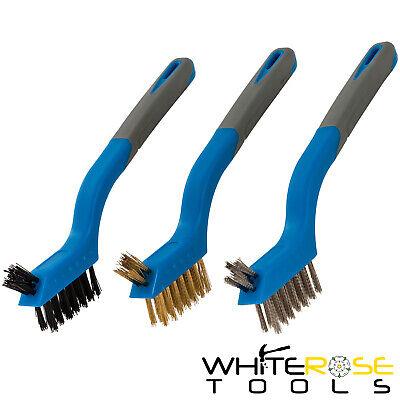 Nylon /& Stainless Steel Mini Wire Brush Set 3 Piece Silverline 617623 Brassed