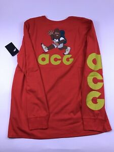 4e243783 NIKE ACG LONG SLEEVE TEE HIKING MAN MENS XL Orange retro vtg shirt ...