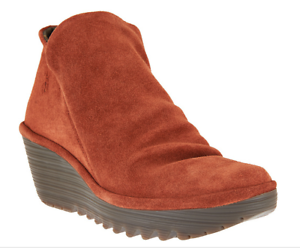 FLY London Suede Ruched Ankle Boots - Yip Booties Women Brick EU39 US 8-8.5 New