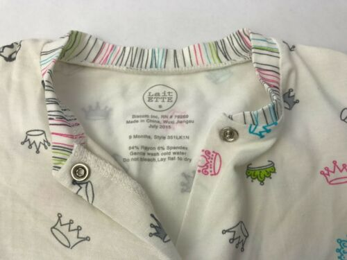 NWOT Size 9 M KATE MACK Baby Lait ETTE Crown Babygro Sleepsuit in Cream Multi